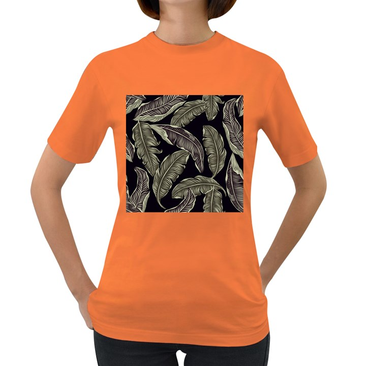 Jungle Leaves Tropical Pattern Women s Dark T-Shirt