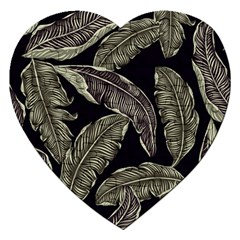 Jungle Leaves Tropical Pattern Jigsaw Puzzle (heart) by Nexatart