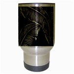 Jungle Leaves Tropical Pattern Travel Mug (Silver Gray) Center