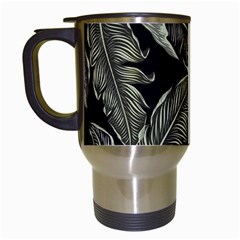 Jungle Leaves Tropical Pattern Travel Mugs (white) by Nexatart