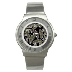 Jungle Leaves Tropical Pattern Stainless Steel Watch