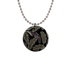 Jungle Leaves Tropical Pattern Button Necklaces