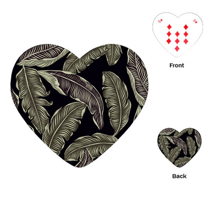 Jungle Leaves Tropical Pattern Playing Cards (Heart)