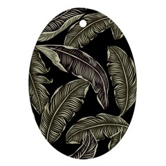 Jungle Leaves Tropical Pattern Oval Ornament (two Sides) by Nexatart