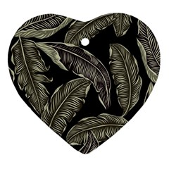 Jungle Leaves Tropical Pattern Heart Ornament (two Sides)