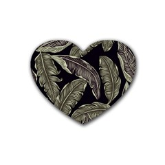 Jungle Leaves Tropical Pattern Rubber Coaster (heart)  by Nexatart