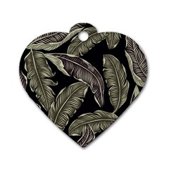 Jungle Leaves Tropical Pattern Dog Tag Heart (two Sides)