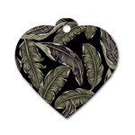 Jungle Leaves Tropical Pattern Dog Tag Heart (Two Sides) Front