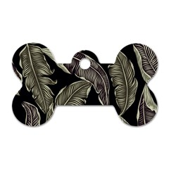 Jungle Leaves Tropical Pattern Dog Tag Bone (two Sides)