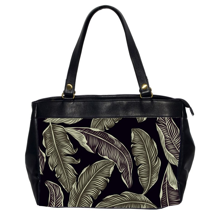 Jungle Leaves Tropical Pattern Oversize Office Handbag (2 Sides)