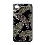 Jungle Leaves Tropical Pattern Apple iPhone 4 Case (Black) Front