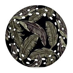 Jungle Leaves Tropical Pattern Round Filigree Ornament (two Sides)