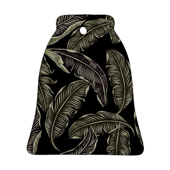 Jungle Leaves Tropical Pattern Bell Ornament (Two Sides)