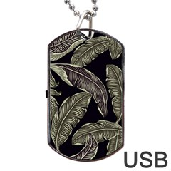 Jungle Leaves Tropical Pattern Dog Tag Usb Flash (two Sides)