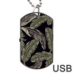 Jungle Leaves Tropical Pattern Dog Tag USB Flash (Two Sides) Front