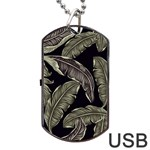 Jungle Leaves Tropical Pattern Dog Tag USB Flash (Two Sides) Back