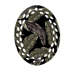 Jungle Leaves Tropical Pattern Ornament (oval Filigree)
