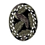 Jungle Leaves Tropical Pattern Oval Filigree Ornament (Two Sides) Front