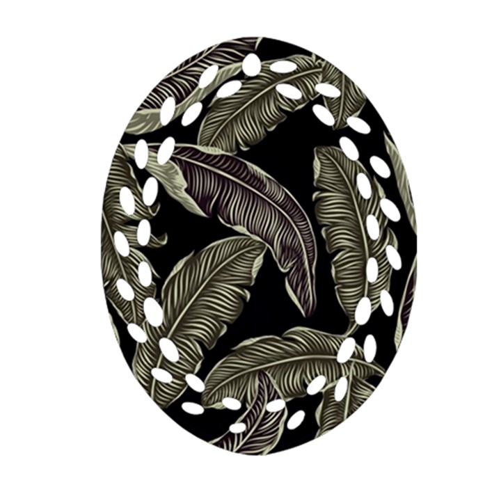 Jungle Leaves Tropical Pattern Oval Filigree Ornament (Two Sides)