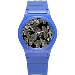 Jungle Leaves Tropical Pattern Round Plastic Sport Watch (s) by Nexatart