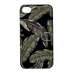 Jungle Leaves Tropical Pattern Apple Iphone 4/4s Hardshell Case With Stand