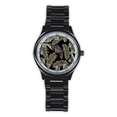 Jungle Leaves Tropical Pattern Stainless Steel Round Watch