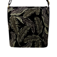 Jungle Leaves Tropical Pattern Flap Closure Messenger Bag (l) by Nexatart