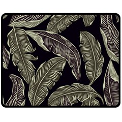 Jungle Leaves Tropical Pattern Double Sided Fleece Blanket (medium)  by Nexatart