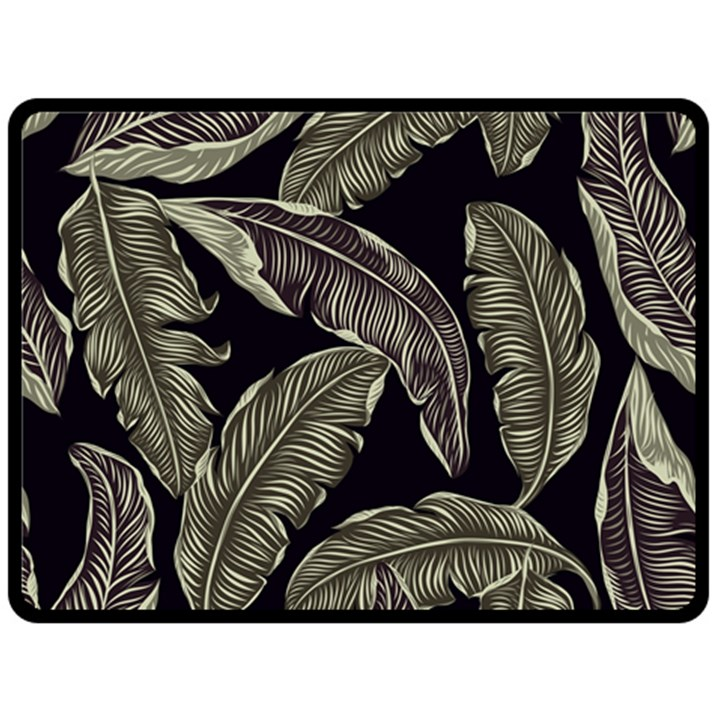 Jungle Leaves Tropical Pattern Double Sided Fleece Blanket (Large)