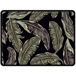 Jungle Leaves Tropical Pattern Double Sided Fleece Blanket (Large)  80 x60 Blanket Back