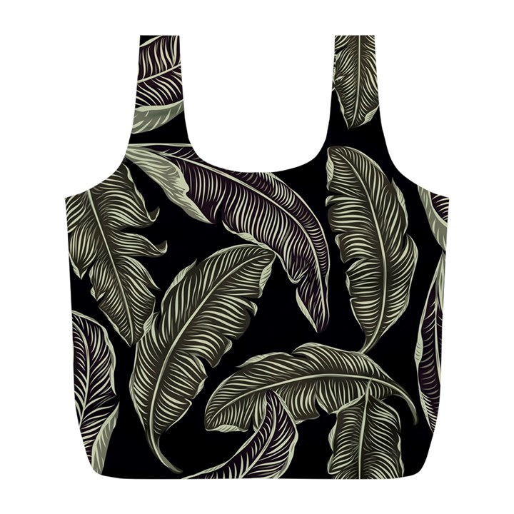 Jungle Leaves Tropical Pattern Full Print Recycle Bag (L)