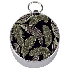 Jungle Leaves Tropical Pattern Silver Compasses