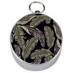 Jungle Leaves Tropical Pattern Silver Compasses Front