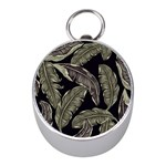 Jungle Leaves Tropical Pattern Mini Silver Compasses Front