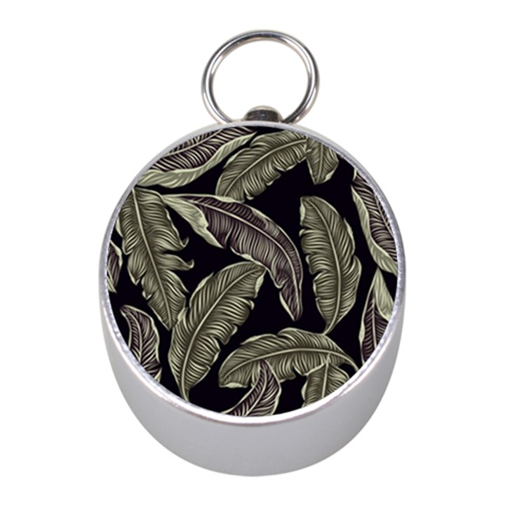 Jungle Leaves Tropical Pattern Mini Silver Compasses