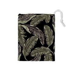 Jungle Leaves Tropical Pattern Drawstring Pouch (medium)