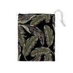 Jungle Leaves Tropical Pattern Drawstring Pouch (Medium) Front