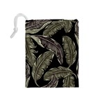 Jungle Leaves Tropical Pattern Drawstring Pouch (Medium) Back