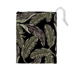 Jungle Leaves Tropical Pattern Drawstring Pouch (Large) Front