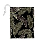 Jungle Leaves Tropical Pattern Drawstring Pouch (Large) Back