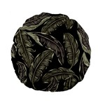 Jungle Leaves Tropical Pattern Standard 15  Premium Flano Round Cushions Front