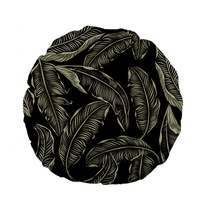 Jungle Leaves Tropical Pattern Standard 15  Premium Flano Round Cushions