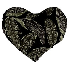 Jungle Leaves Tropical Pattern Large 19  Premium Flano Heart Shape Cushions by Nexatart