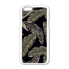 Jungle Leaves Tropical Pattern Apple Iphone 6/6s White Enamel Case