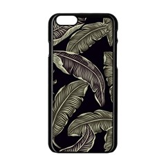 Jungle Leaves Tropical Pattern Apple Iphone 6/6s Black Enamel Case