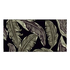 Jungle Leaves Tropical Pattern Satin Shawl
