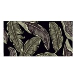 Jungle Leaves Tropical Pattern Satin Shawl Front