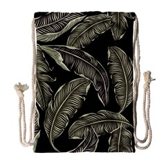 Jungle Leaves Tropical Pattern Drawstring Bag (large) by Nexatart