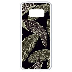 Jungle Leaves Tropical Pattern Samsung Galaxy S8 White Seamless Case by Nexatart