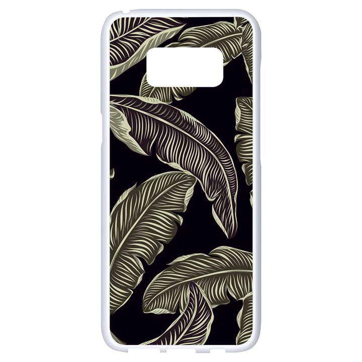 Jungle Leaves Tropical Pattern Samsung Galaxy S8 White Seamless Case